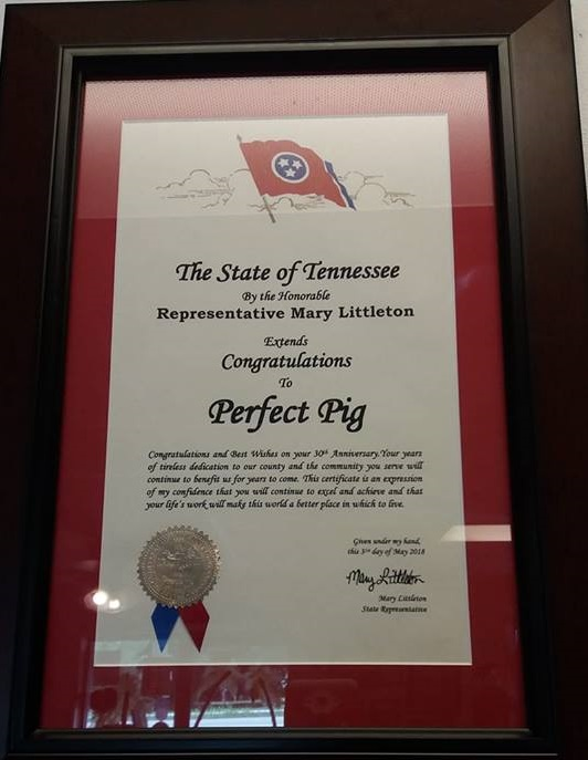 State of TN Recognition of Carl's 30th Anniversary